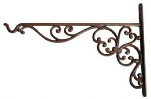 Large Cast Iron Garden Hanging Basket Hook Bracket 24 x 35 cm